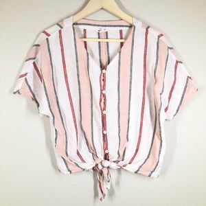 Beachlunchlounge Linen Striped Tie Front Shirt Pink White XS